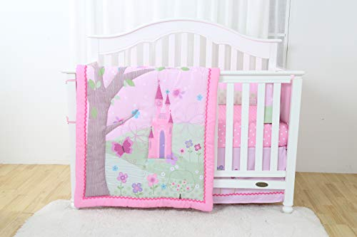 Decotex 4 Piece Princess Castle Baby Nursery Crib Bedding Set (Princess Crib Bumper)