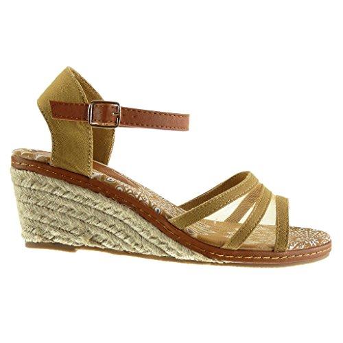Angkorly - Zapatillas de Moda Sandalias Mules Correa de tobillo mujer multi-correa fishnet cuerda Talón Plataforma 7 CM - Camel