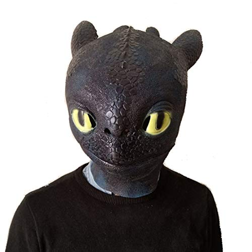 How to Train Your Dragon: The Hidden World Toothless Halloween Costume Viking Style Film Cosplay Dragon Latex Mask Black ()
