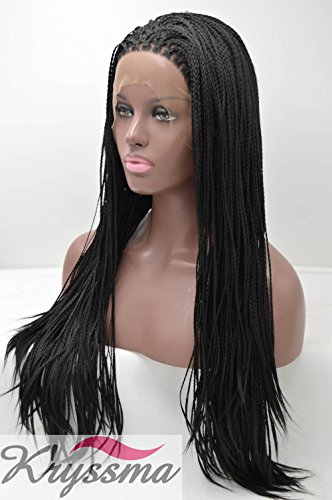 K'ryssma Natural Looking Synthetic Lace Front Braided Wig for Black Women Heat Resistant Fiber Hair Wig Half Hand Tied 20 Inches (Braided Hair Wigs)