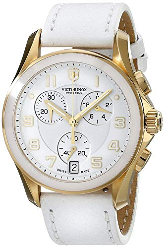 Victorinox Chrono Classic White Dial Leather Strap Ladies Watch 241511XG (Renewed) ()