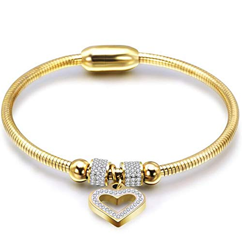 - Jude Jewelers Stainless Steel Magnetic Clasp Hart Charm Cubic Zircon Anniversary Valentine Bangle Bracelet (Gold)