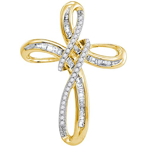 Baguette Yellow Cross - Jewel Tie 10k Yellow and White Gold Two Toned Round Baguette White Diamond Cross Pendant (1/4 cttw.)