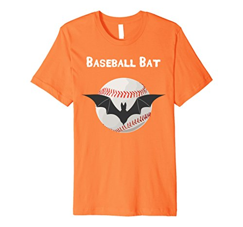 Baseball Themed Halloween Costumes (Mens Premium Baseball Bat Baseball Themed Halloween T-Shirt Small Orange)