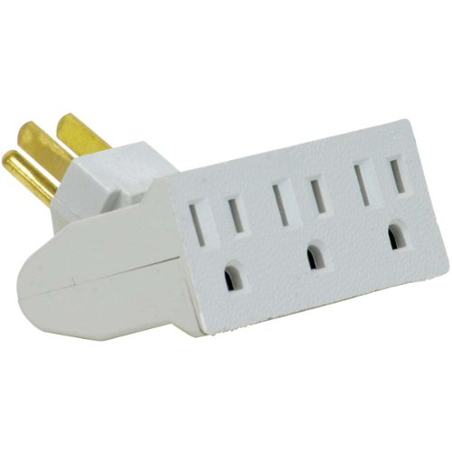 3 Outlet Lateral Swivel Grounded Wall Adapter Tap, White Finish, Globe Electric 46505 (Swivel Socket Adaptor)