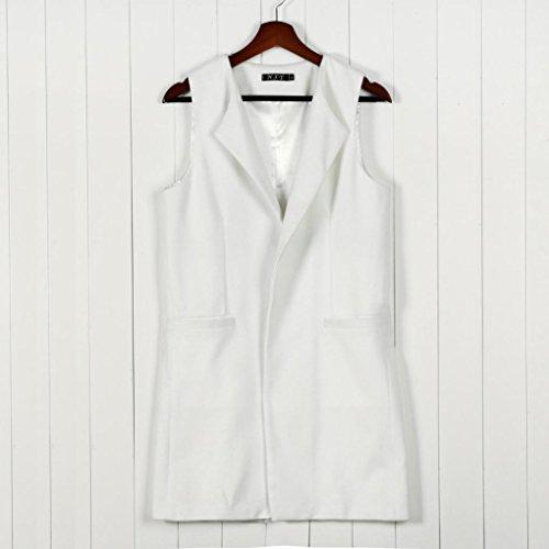 Parka Gilet Taille Manche Bonjouree Blanc Long Femme Cardigan Hiver Sans Grande Manteaux Chic qwCYdC