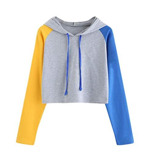 Big Clearance! Women Long Sleeve Patchwork Hoodie Sweatshirt Daoroka Ladies O Neck Drawstring Jumper Pullover Hooded Tops Fashion Autumn Winter Causal Loose Tunic Blouse -