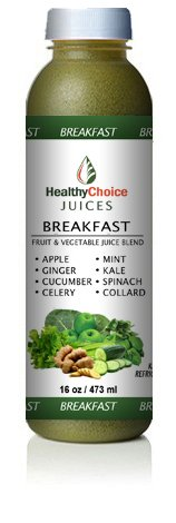 Healthy Choice Juices - Breakfast - Apple, Ginger, Cucumber, Celery, Mint, Kale, Spinach, Collard Greens Flavored Detox Cold Pressed Juice Cleanse - 6 Bottles