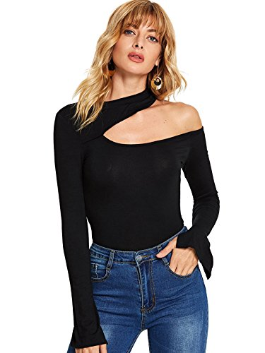 SheIn Women's Sexy One Shoulder Long Sleeve Slim Fit Cut Out Tee T-Shirts Black Small