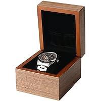 BingYes Caja de reloj con anilla bolsa de almacenamiento vintage hecho a mano madera reloj caso para hombres/mujeres relojes