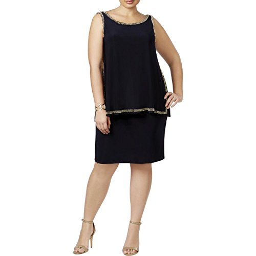 Dress Sheath Beaded Adam Women's Plus amp; Black Betsy WH6UqSYxwW
