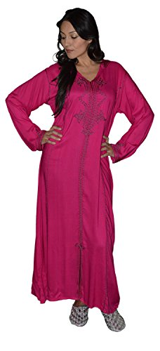 Moroccan-Caftans-Women-Hand-Made-Djellaba-Embroidered-Size-Large-Magenta