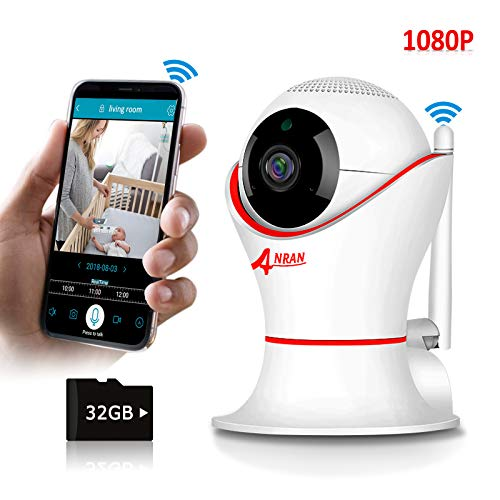 Home Wireless Security Camera with SD Card 32GB, 360 Security Camera Wireless HD 1080P, as Wireless Baby Camera Motion Detector with Audio, Wireless Pet Camera for iPhone, Night Vision, Video Record