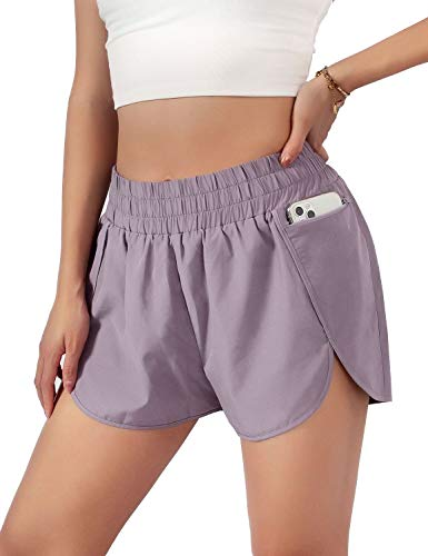 """Blooming Jelly Womens Quick-Dry Running Shorts Sport Layer Elastic Waist Active Workout Shorts with Pockets 1.75"""" (Medium, Pu"""