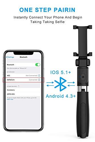 Powerpak LS-1818-2 Bluetooth Extendable Selfie Stick Tripod with Wireless Remote for iPhone X/8/8 Plus/7/7 Plus/6S/Galaxy S9/S9 Plus/Note 8/S8 /S8 Plus/Google Pixel & More (Black)