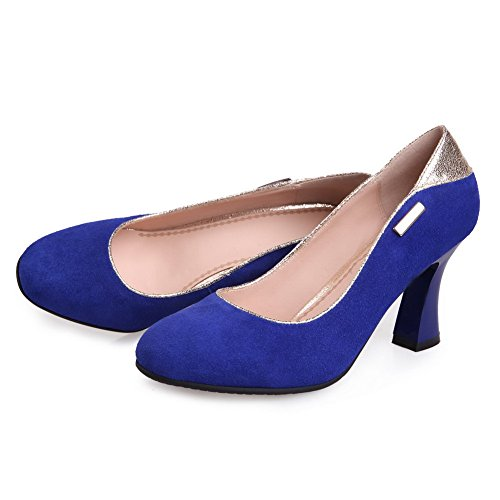 VogueZone009 Womens Closed Round Toe High Heel PU Frosted Solid Pumps with Metalornament, Blue, 4.5 UK