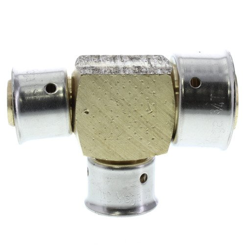 Zero Lead Bronze 1 inch x 1/2 inch x 1/2 inch PEX Press Reducing Tee with Attached Sleeve