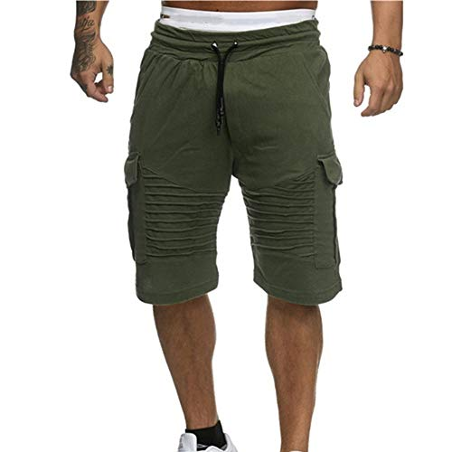 NEEKEY Men's Short with Pockets Fashion Swim Trunks Breathable Beach Surfing Running Sport Pants Green