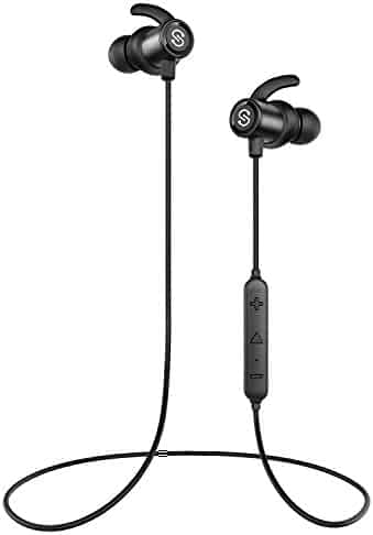 SoundPEATS Magnetic Wireless Earbuds Bluetooth Headphones Sport In-Ear Sweatproof Earphones with Mic (Super sound quality, IPX6, Bluetooth 4.1, aptx, 8 Hours Play Time, Secure Fit Design) - Black