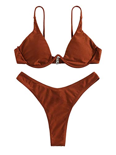 (Verdusa Women's Sexy Triangle Bathing Two Pieces Swimsuit Bikini Set Brown S)