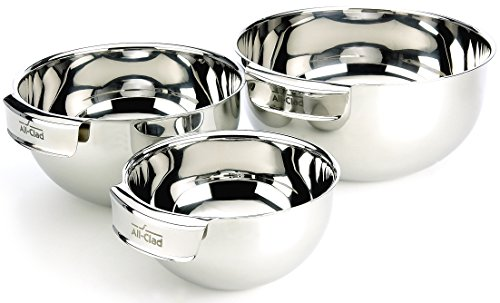 - All-Clad MBSET Stainless Steel Dishwasher Safe Mixing Bowls Set Kitchen Accessorie, 3-Piece, Silver