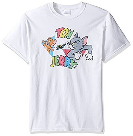 Tom and Jerry Men's Traingles T-Shirt, White, Large (Tom And Jerry Tee Shirts)