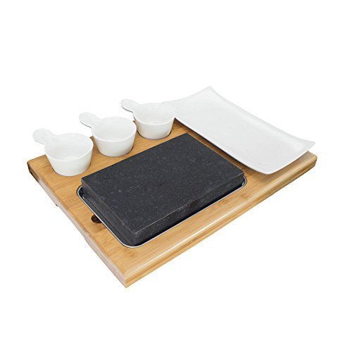 Zelancio Premium Lava Hot Stone Cooking Platter Hot and Cold Lava Rock Cooking Stone Set - Hibachi Grilling Stone