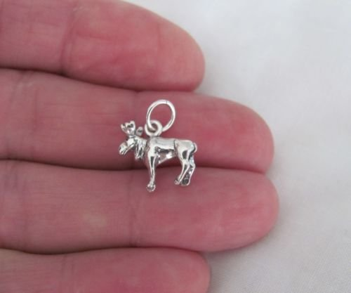 Sterling Silver 3d moose charmJewelry Making Supply Charm, Bracelets and More by Wholesale Charms