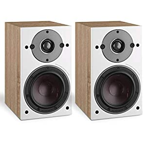 """DALI OBERON 1 Award Winning 2-Way 100W RMS Ultra Compact Bookshelf Speaker with 5.25"""" SMC Based Wood Fibre Cone Woofers, 29 mm Soft Dome Tweeter and Wall-mounting – Light Oak (Pair)"""