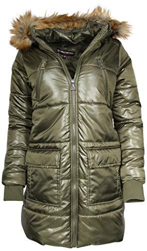 Urban Republic Junior's Heavyweight Parka Puffer Jacket with Faux Fur Hood, Olive, - Fur Coats Juniors Hood Faux For