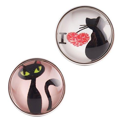 Lovmoment Glass Cute Cat Interchangeable Snaps Button Jewelry