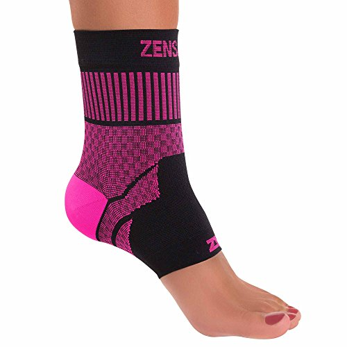Zensah Ankle Support - Compression Ankle Brace - Great for Running, Soccer, Volleyball, Sports - Ankle Sleeve Helps Sprains, Tendonitis, Pain, Neon Pink, Medium by Zensah (Image #2)