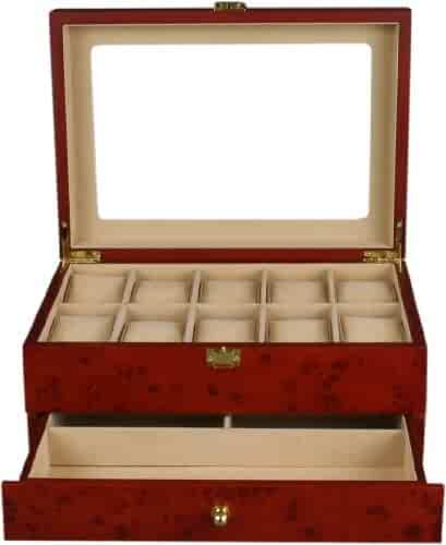 Kendal Top Quality Wooden Burlwood Matte Finish Watch Case Display Box With a Drawer WC10+3YL