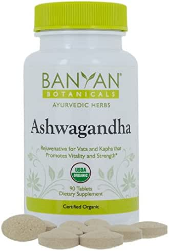 Banyan Botanicals Organic Ashwagandha Root Powder Tablets - Indian Ginseng - Adaptogen Supplement Promotes & Supports Vitality, Strength, Sleep, Adrenal Health, Calming The Mind & Combating Stress **