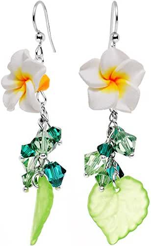 Body Candy Handcrafted Silver Plated Floral Foliage Dangle Earrings Created with Swarovski Crystals