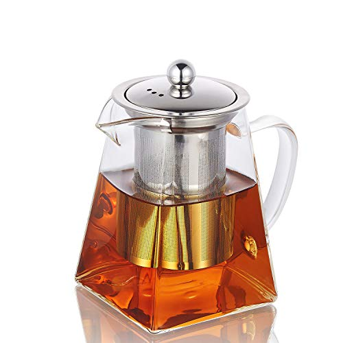 Teapot with Infuser,750 ml /26.41oz Borosilicate Glass Tea Pot with Tea Strainers for Loose Leaf Tea, Microwavable and Stovetop Safe ...