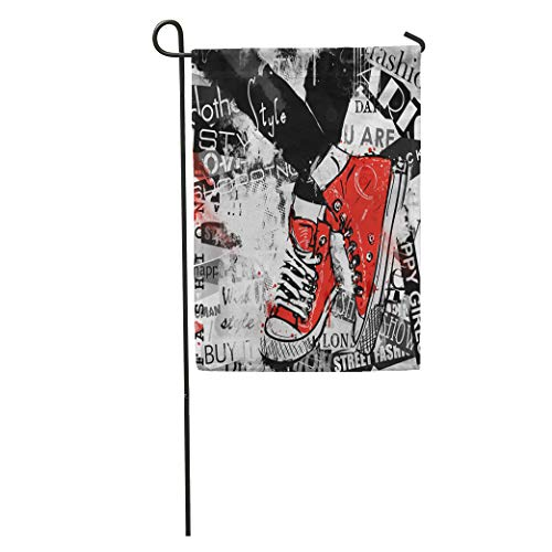 (Semtomn Garden Flag Paris Pair of Sneakers Vintage Youth Pattern Boots Canvas Casual Home Yard House Decor Barnner Outdoor Stand 28x40 Inches Flag)