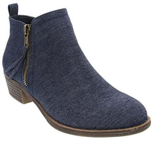 Rampage Open Toe Heels - Rampage Women's Tarragon Ankle Bootie Dark Denim 11