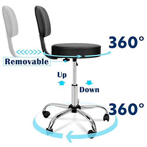 Nova Microdermabrasion Adjustable Hydraulic Rolling Swivel Salon Stool Chair Tattoo Massage Facial Spa Stool Chair with Back (PU Leather Cushion) Black 1pcs