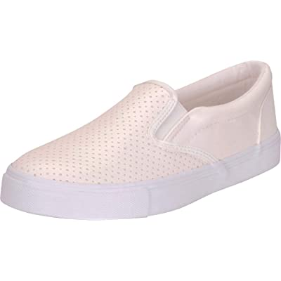 Cambridge Select Women's Round Toe Perforated Laser Cutout Slip-On Flatform Fashion Sneaker   Shoes