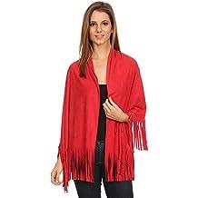 LL Womens Open Front Poncho Vest Boho Wrap Fringe Vegan Faux Suede - Many Style