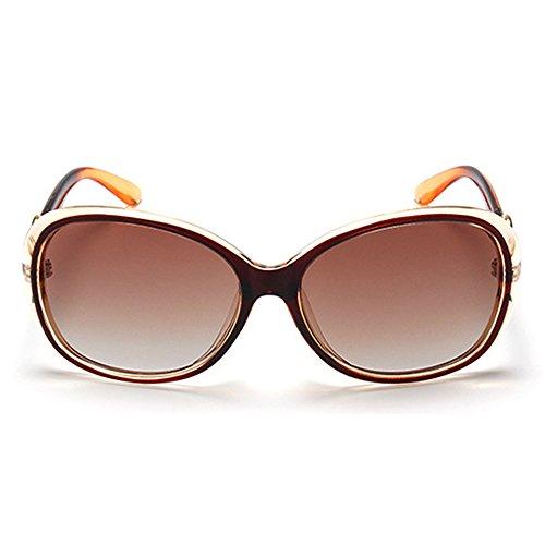 Estilo Gafas Casual de Sol UV Gafas 400 Protection Tea Oval BLDEN Mujer Polarizadas Moda Elegante Sol de 0YdY5qw