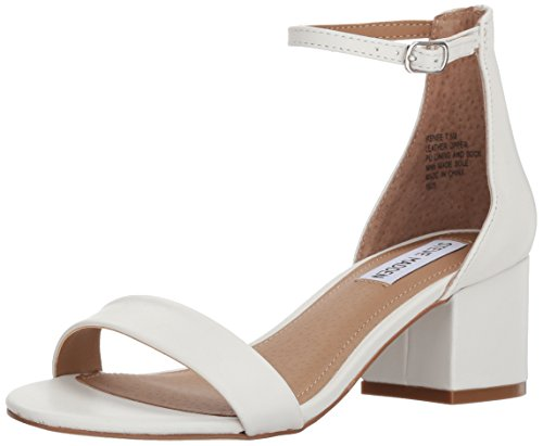Steve Madden Women's Irenee Heeled Sandal, White Leather, 8.5 M US