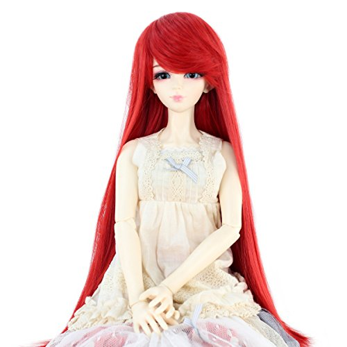 Bjd Wig (Synthetic Long Straight 9-10 Inch 1/3 BJD MSD DOD Pullip Dollfie Doll Wig Hair Accessories Not for Human (Red))