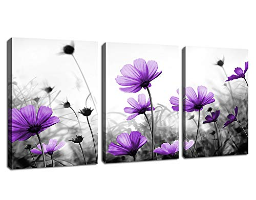 Flowers Wall Art Canvas Pictures Purple Wildflowers Black and White Background 3 Piece Canvas Art Blossom Contemporary Artwork for Home Decoration Office Kitchen Wall Decor 12