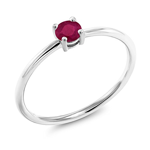 Gem Stone King 0.30 Ct Round Red Ruby 10K White Gold Solitaire Ring (Size 6)