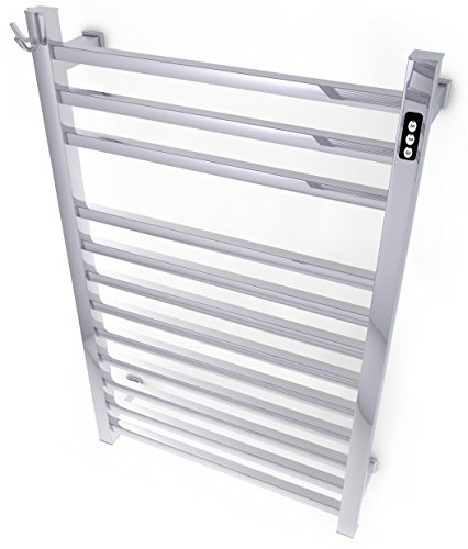 Wall Mounted Electric Towel Warmer with Built-in Timer and Hardwired and Plug in options, Stainless Steel by Brandon Basics