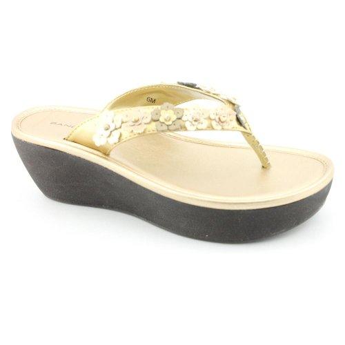 Bandolino Barrington Womens Size 5.5 Gold Synthetic Platforms Sandals Shoes