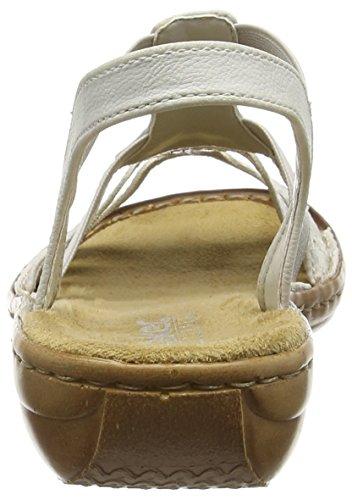 Femme Blanc Bout Ouvert 60800 Rieker ice Sandales qwX6IHcz