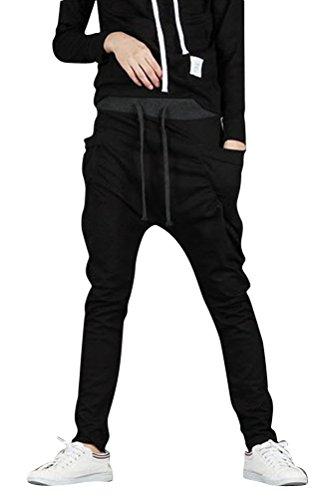SportsWell Casual Jogging Harem Pants Sweatpants Running Trousers, Black, US L(Tag size XXL)